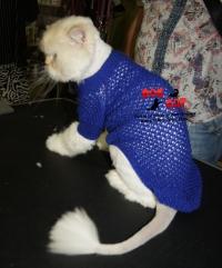 Синий ажурный свитер